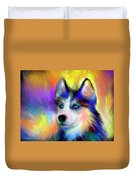 Electric Siberian Husky Dog Painting Duvet Cover by Svetlana Novikova