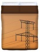 Electricity Pylon At Sunset  Duvet Cover
