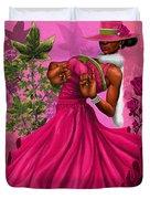 Elegant Pink And Green Duvet Cover