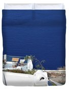 Elegant Restaurant In Santorini, Greece  Duvet Cover