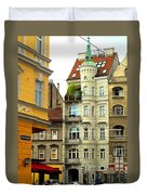 Elegant Vienna Apartment Building Duvet Cover