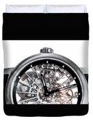 Elegant Watch With Visible Mechanism, Clockwork Close-up. Duvet Cover
