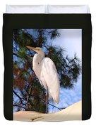 Elegant White Crane Duvet Cover