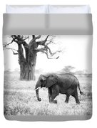 Elephant And Baobab Duvet Cover