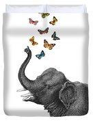 Elephant Blowing Butterflies From His Trunk Duvet Cover