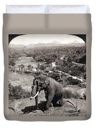 Elephant And Keeper, 1902 Duvet Cover