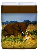 Elephant And The Lions Duvet Cover