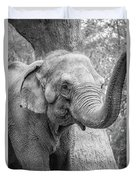 Elephant And Tree Trunk Black And White Duvet Cover