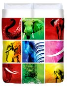 Elephant Animal Decorative Colorful Multiptych 1 - By  Diana Van  Duvet Cover