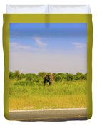 Elephant At The Road Duvet Cover