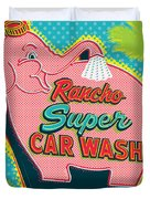 Elephant Car Wash - Rancho Mirage - Palm Springs Duvet Cover by Jim Zahniser