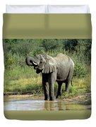 Elephant Drinking Duvet Cover