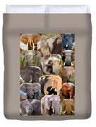 Elephant Faces Duvet Cover