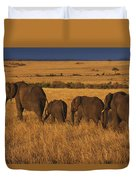 Elephant Family - Sunset Stroll Duvet Cover