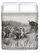 Elephant Hunters In The 19th Century Duvet Cover
