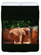 Elephant In Red Clay Duvet Cover
