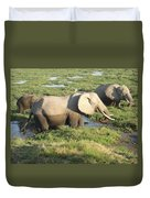 Elephant Mother And Calves Duvet Cover
