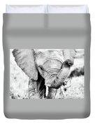 Elephant Portrait In Black And White Duvet Cover