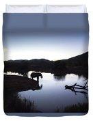 Elephant Silhouette At Sunset Duvet Cover
