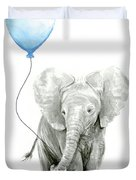 Elephant Watercolor Blue Nursery Art Duvet Cover