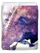 Elephant Watercolor Painting Duvet Cover