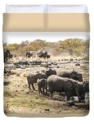 Elephant Watering Hole Duvet Cover