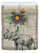 Elephant With Flowers Duvet Cover