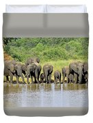 Elephants At The Waterhole   Duvet Cover