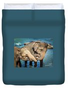 Elephants Bathing In A River Duvet Cover