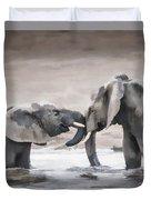 Elephants From Africa Duvet Cover