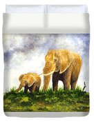 Elephants - Mother And Baby Duvet Cover