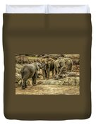 Elephants Social Duvet Cover