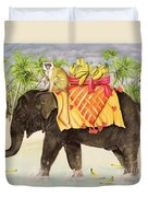 Elephants With Bananas Duvet Cover