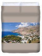 Elevated View Of The Hora Sfakion Duvet Cover