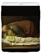 Elisha Raising The Son Of The Shunamite Duvet Cover by Frederic Leighton