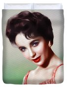 Elizabeth Taylor, Vintage Movie Star Duvet Cover