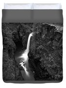 Elk Falls In The Canyon Black And White Duvet Cover