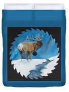 Elk In Snow Duvet Cover
