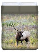 Elk In Wildflowers #1 Duvet Cover