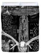 Elk Skull In Black And White Duvet Cover