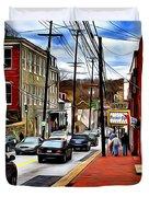 Ellicott City Sidewalk Duvet Cover