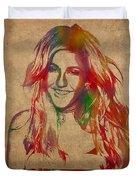 Ellie Goulding Watercolor Portrait Duvet Cover