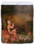Elven Beautiful Woman With Flute Duvet Cover