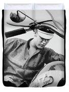 Elvis And His Bike Bw Duvet Cover