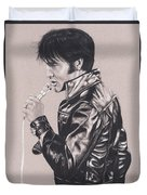 Elvis In Charcoal #177, No Title Duvet Cover