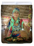 Embera Indian Lady Serving A Meal Duvet Cover