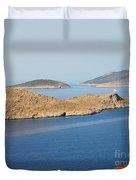 Emborio Harbour On Halki Island Duvet Cover