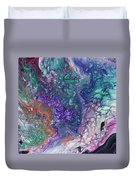 Emerald And Amethyst. Abstract Fluid Acrylic Painting Duvet Cover