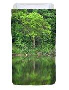 Emerald Green Reflections Duvet Cover by Lori Frisch