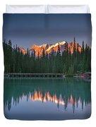 Emerald Lake At Sunrise Hour Duvet Cover